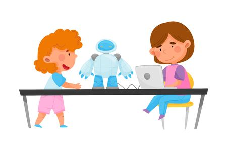 Little Kids Sitting at Table and Configurating Robot with Laptop Vector Illustration