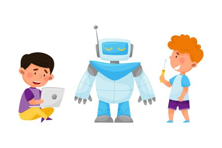 Little Kids Repairing and Configurating Robot with Laptop Vector Illustration