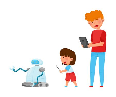 Young Student Boy Standing with Kid and Controlling Robot with Tablet Vector Illustration