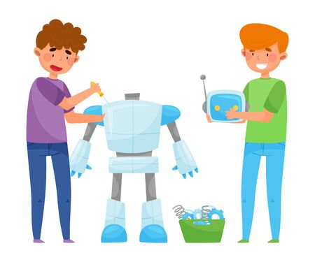 Boys Teenagers Standing Engineering and Fixing Robot Vector Illustration