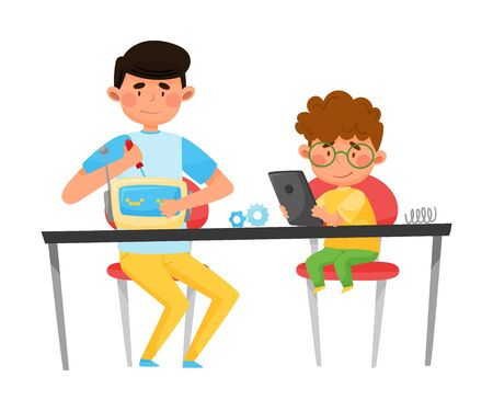 Young Student Boy Sitting with Kid at Table and Repairing Robot with Fixing Tools Vector Illustration
