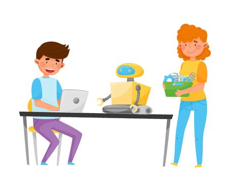 Boy and Girl Teenagers Engineering and Configurating Robot Vector Illustration