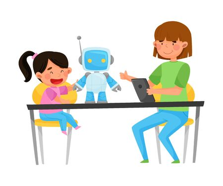 Young Student Girl Sitting with Kid at Table and Controlling Robot with Tablet Vector Illustration