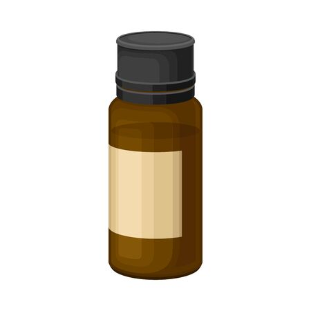 Glass Bottle with Essential Oil of Sandalwood Vector Illustration