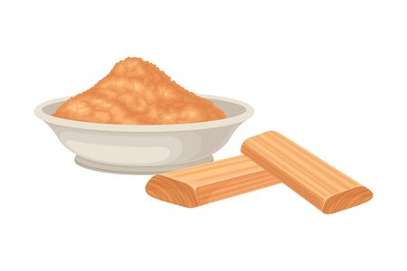 Powdered Sandalwood Poured in Bowl with Chips Rested Nearby Isolated on White Background Vector Illustration