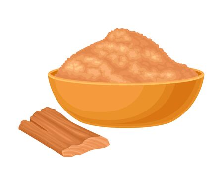 Powdered Sandalwood Poured in Bowl with Chip Rested Nearby Isolated on White Background Vector Illustration Иллюстрация