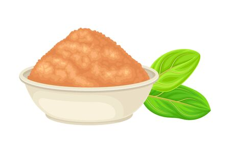 Powdered Sandalwood Poured in Bowl with Green Leaf Rested Nearby Isolated on White Background Vector Illustration Иллюстрация