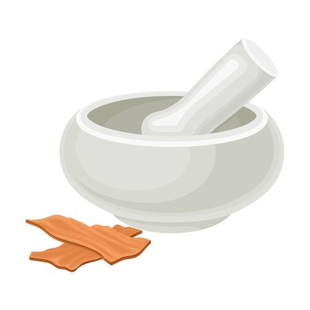 Mortar and Pestle for Sandalwood Bark Milling Vector Illustration