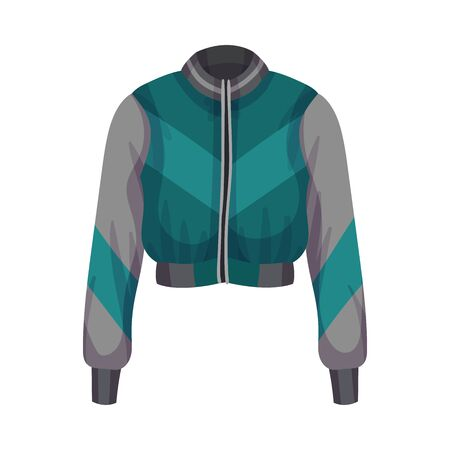Sportive Zippered Track Jacket with Long Sleeves Vector Illustration Stock Illustratie