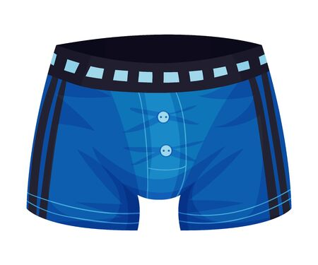 Tight Male Elastic Swimming Trunks Isolated on White Background Vector Illustration