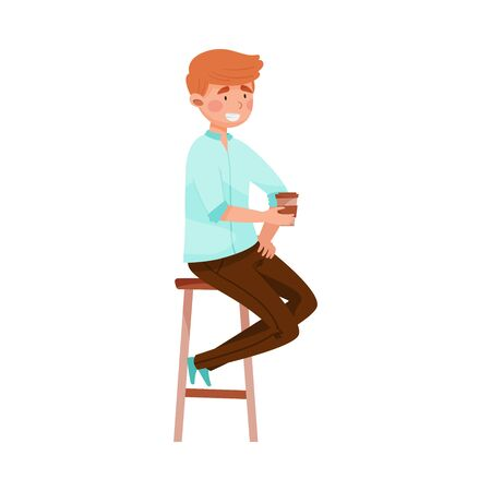 Young Man Sitting at Street Cafe Table and Drinking Coffee Vector Illustration