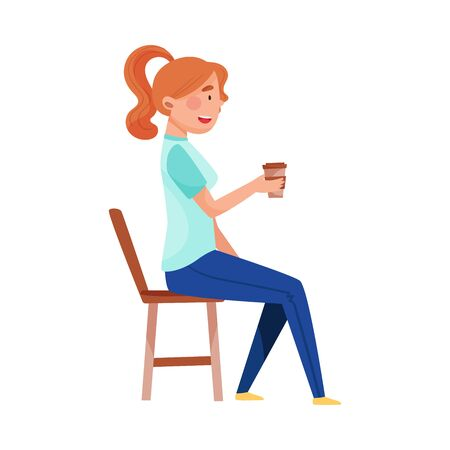 Young Woman Sitting at Street Cafe Table and Drinking Coffee Vector Illustration Stock Illustratie