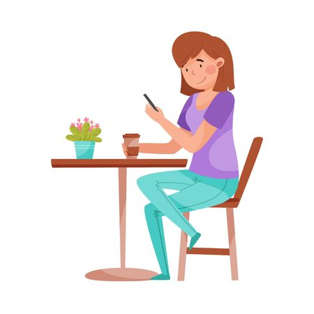 Young Woman Sitting at Street Cafe Table with Smartphone and Drinking Coffee Vector Illustration