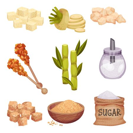 Piles of White and Brown Sugar Cubes with Sugar Beet and Sugarcane Plant Vector Set Vecteurs