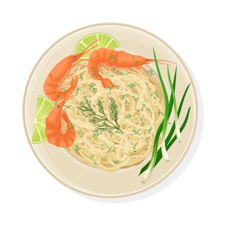 Thai Dish with Noodles and Shrimps Vector Illustration