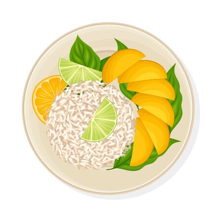 Thai Dish with Rice and Mango Slices Served on Plate Vector Illustration