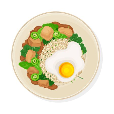 Thai Main Course with Rice and Scrambled Egg Top View Vector Illustration
