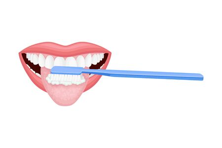 Open Mouth with Toothbrush Scrubbing and Cleaning Teeth Vector Illustration
