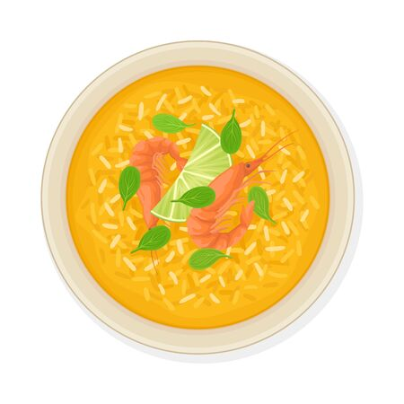 Thai Main Course with Rice and Shrimps Top View Vector Illustration