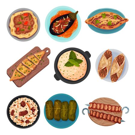 Turkish National Food with Turkish Pie Pide and Dolma Top View Vector Set. Authentic Dishes for Restaurant Menu Concept