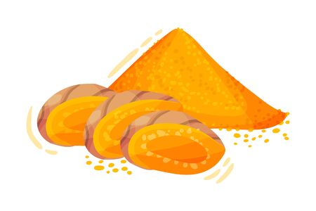 Sliced Turmeric Rhizome with Pile of Milled Root Vector Illustration. Yellow Curcuma Condiment with Bitter Flavor and Earthy Mustard-like Aroma Used as Coloring and Flavoring Agent in Asian Cuisine