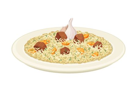 Uzbek Traditional Dish of Rice, Vegetables, Meat and Spices Called Pilaf Side View Vector Illustration
