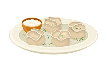 Cooked Dumplings Served on Plate with Greenery and Sauce Side View Vector Illustration