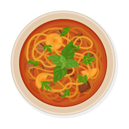 Lagman Dish Composed of Mutton, Vegetables and Long Noodle Poured in Bowl Side View Vector Illustration
