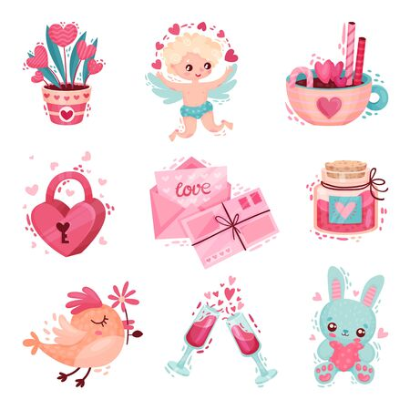 Saint Valentine Day Festive Attributes and Symbols with Cherub Vector Set