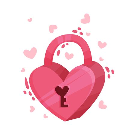 Pink Heart Shaped Padlock as Saint Valentine Day Symbol Vector Illustration