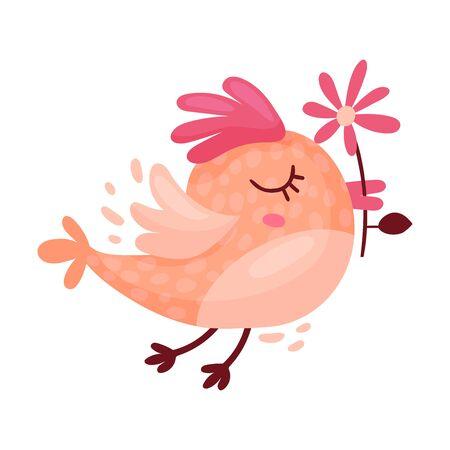Bird Carrying Flower in Its Beak as Saint Valentine Day Symbol Vector Illustration Иллюстрация