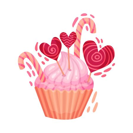 Sweet Cupcake with Candies as Saint Valentine Day Symbol Vector Illustration