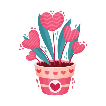 Fancy Heart Shaped Flowers in Flowerpot as Saint Valentine Day Symbol Vector Illustration. Gift for Amour and Affection Expression