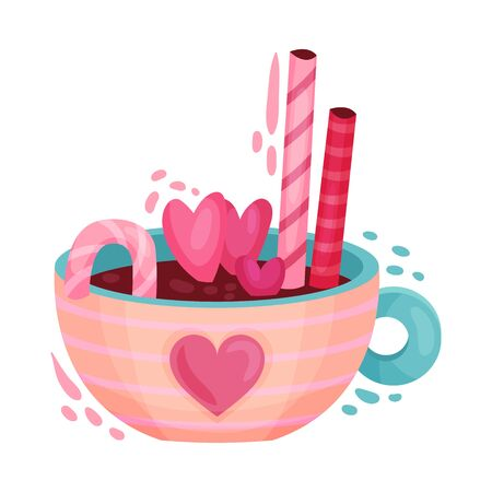 Hot Chocolate Drink with Sweet Stick and Candies as Saint Valentine Day Symbol Vector Illustration. Sugary Gift for Amour and Affection Expression