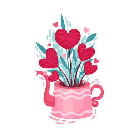 Fancy Heart Shaped Flowers in Flowerpot as Saint Valentine Day Symbol Vector Illustration