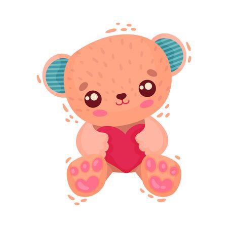 Teddy Bear Holding Heart as Saint Valentine Day Symbol Vector Illustration