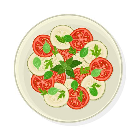 Vegetable Cuts Arranged with Kitchen Herbs or Greenery Vector Illustration