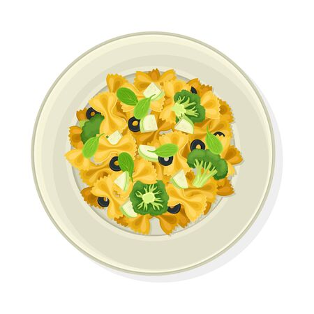 Vegetarian Pasta with Olives and Broccoli Vector Illustration