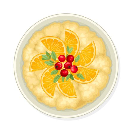 Bowl of Cereal or Oatmeal Porridge with Berries View From Above Vector Illustration Illusztráció