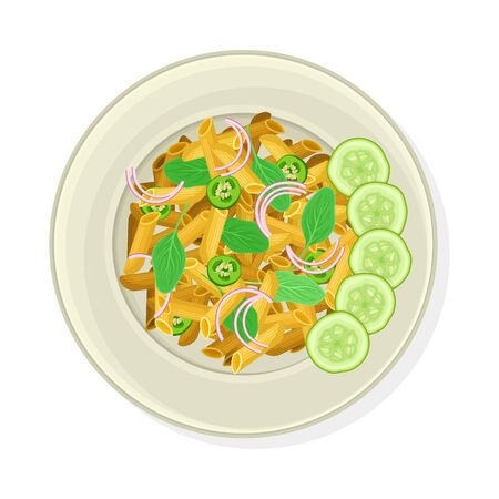 Vegetarian Pasta with Greenery and Cucumber Slices Rested Nearby Vector Illustration