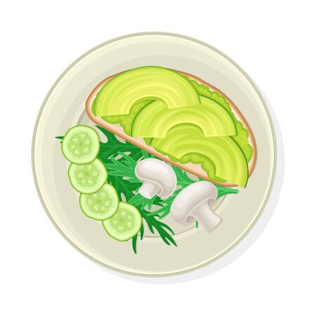 Vegetable Cuts Arranged with Kitchen Herbs and Sandwich with Avocado Vector Illustration