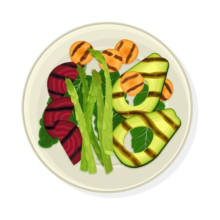Grilled Vegetables Served on Plate with Greenery Vector Illustration
