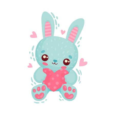 Blue Hare Holding Heart as Saint Valentine Day Symbol Vector Illustration