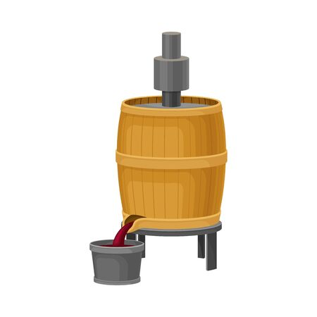 Crushing Grapes in Wooden Barrel with Pressing Equipment  Illustration