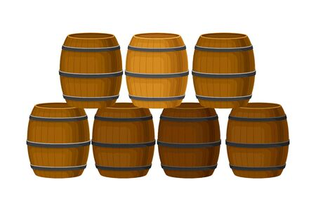 Rows of Grape Juice in Wooden Barrels Storing in Cellar  Illustration Illustration