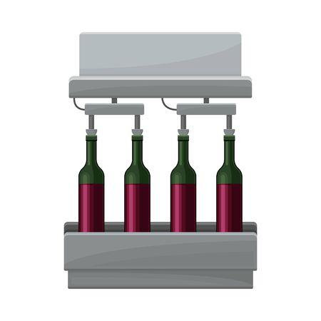 Wine Bottling Process with Glass Bottles Moving on Conveyor Belt Illustration