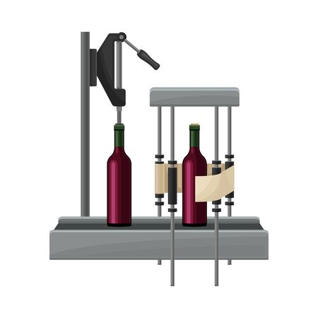 Wine Bottles Sealing or Capping with Cork and Label Sticking Process with Glass Containers Moving on Conveyor Belt Illustration. Wine Production Step with Packaging for Further Distribution Concept