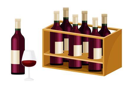 Grape Wine Glass Bottles Standing in Wooden Wine Rack in Cellar Illustration. Red Wine Shelf for Demonstration Concept Illustration