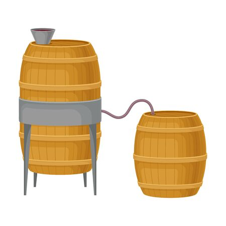 Grape Wine Pouring in Wooden Barrels for Storing in Cellar Illustration. Illustration