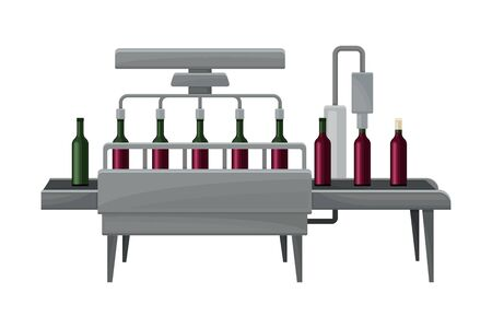 Wine Bottles Label Sticking Process with Glass Containers Moving on Conveyor Belt Illustration